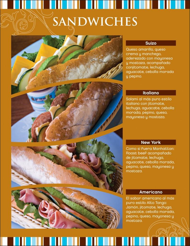 menu sandwiches